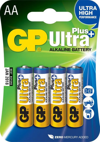 Батарейки GP 15AUP-U4 Ultra alkaline PLUS,блистер 4/40/Батарейки GP 15AUP-U4 Ultra alkaline PLUS, LR6, AA,блистер 4/40/