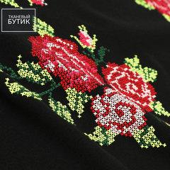 Пальтовая шерстяная ткань с вышивкой крестом