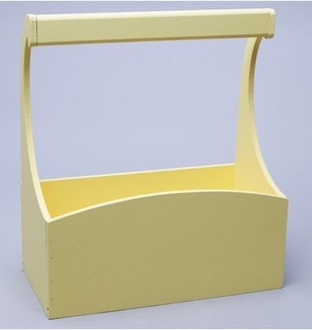 Ящик деревянный с ручкой (размер: 25х12,5х10 h25см) цвет: желтый
