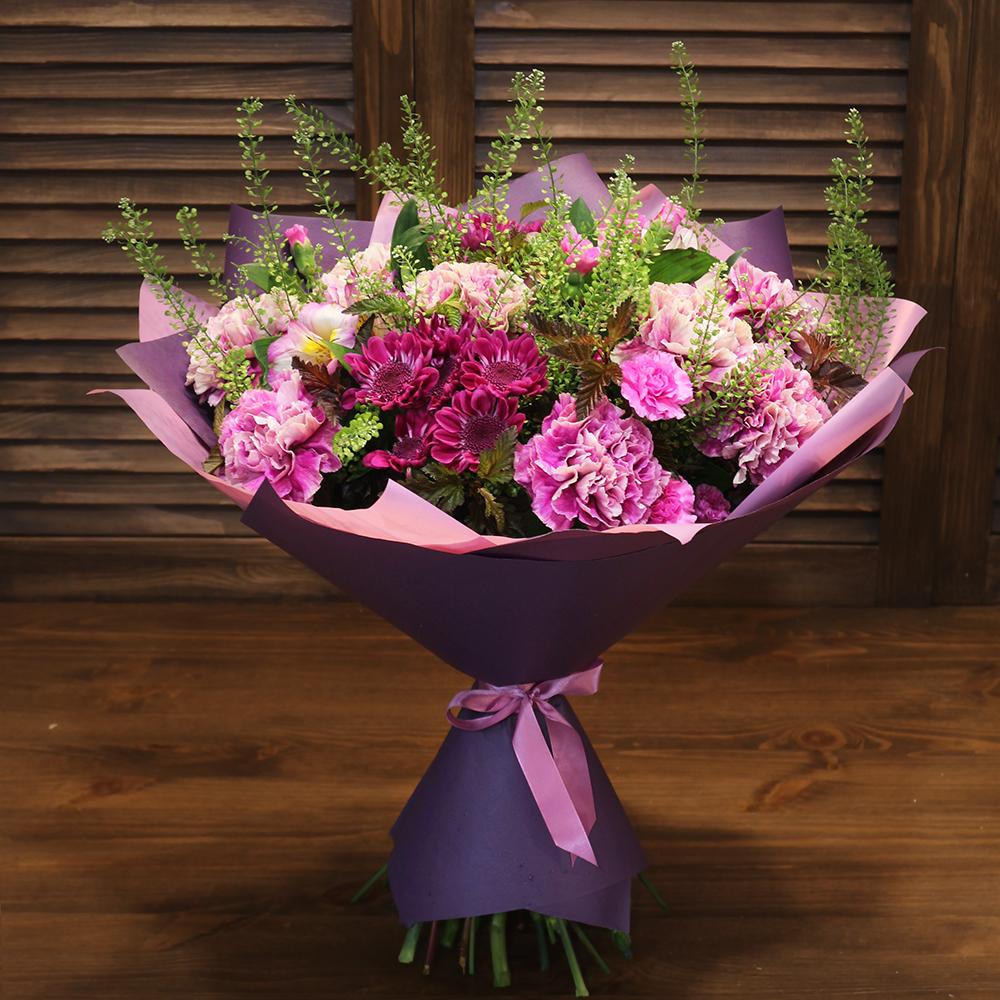 Купить необычный букет с сиреневыми лавандовыми цветами Пермь