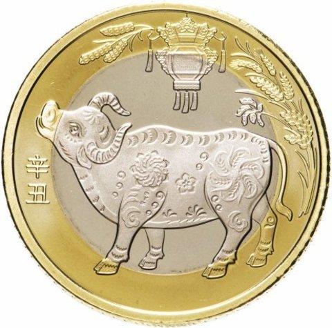 Монета 10 юань Бык