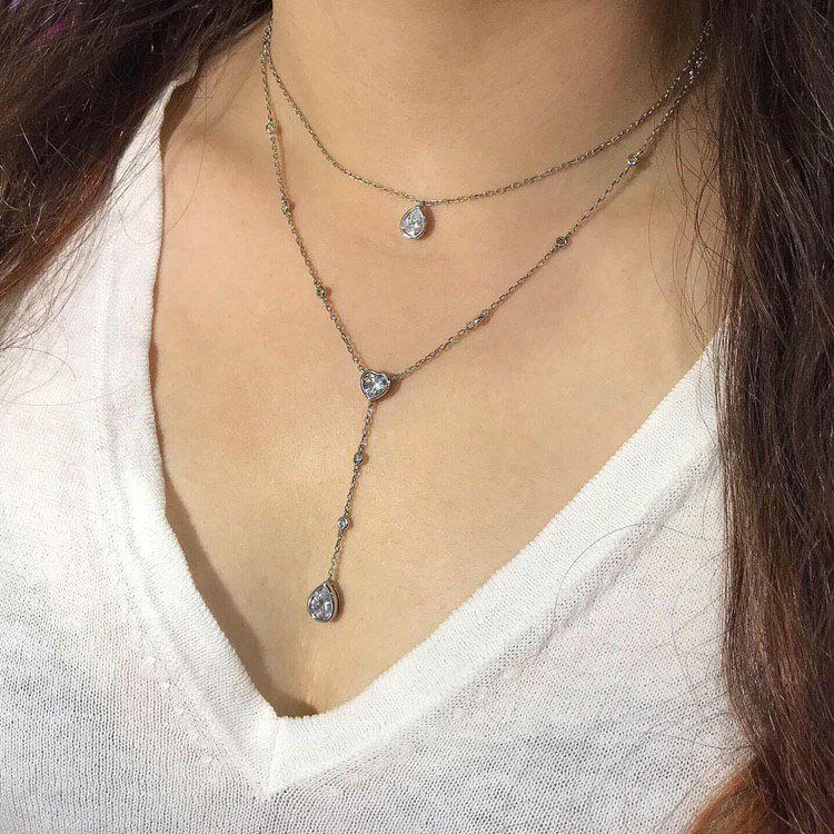 Колье двурядное с сердечком и подвесками-каплями (серебро 925)