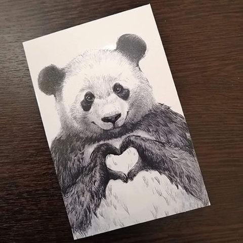 Открытка Панда с сердечком