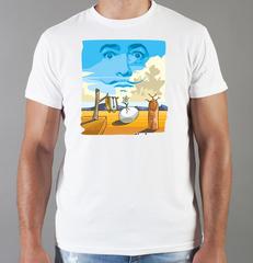 Футболка с принтом  Сальвадор Дали  (Salvador Dalí) белая 009