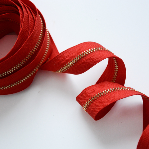 Молния металлическая №5, Ало-красный, цена за 10 см.