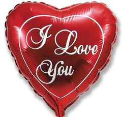 Шар Красное сердце I Love You
