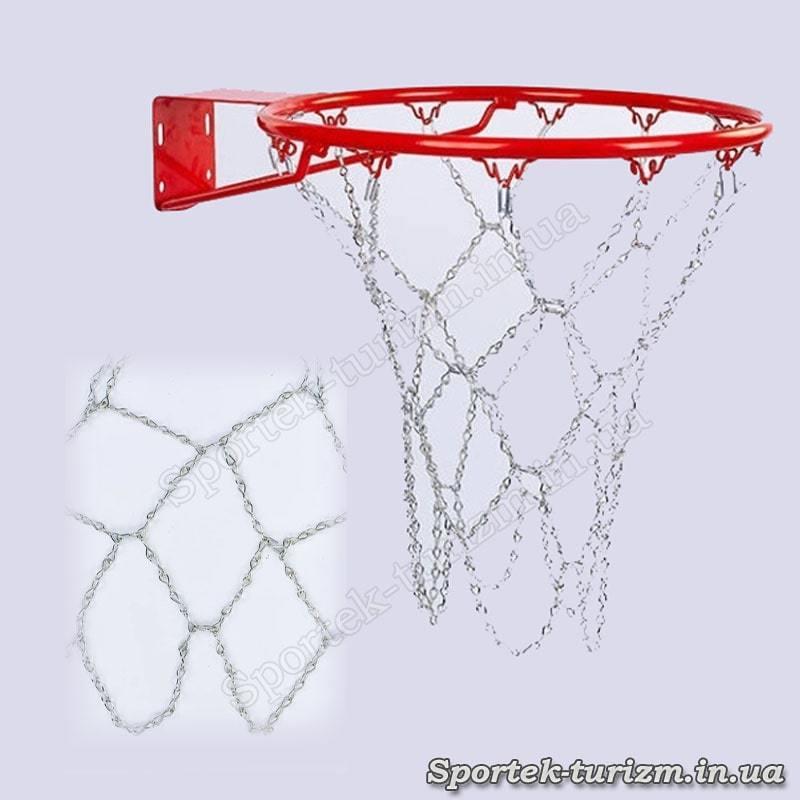 Антивандальна металева баскетбольна сітка C-914 (ланцюг, 12 петель)