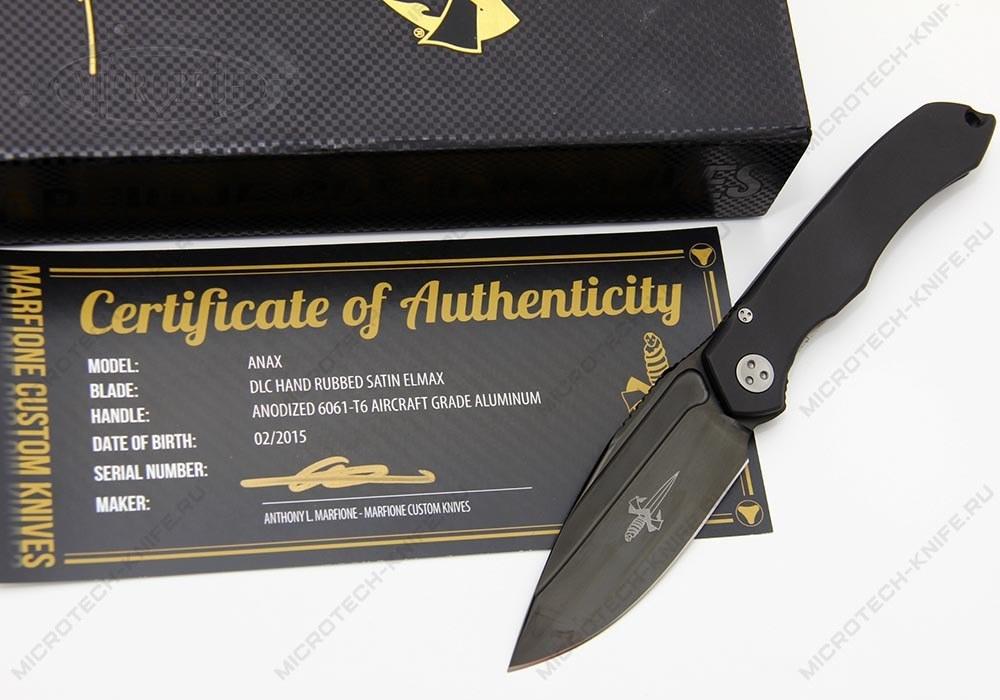Нож Marfione Custom Anax ELMAX DLC Hand Rubbed Satin - фотография