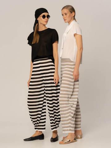 Женские брюки в черно-белую полоску из вискозы - фото 5