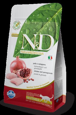 Сухой беззерновой корм Farmina N&D Grain Free Cat Chicken & Pomegranate Neutered