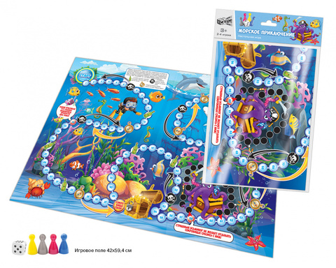 Игра настольная. Бродилка «Морское приключение» (А2, игровое поле 42х59,4 см., в пакете), 07110