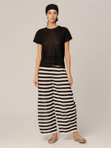 Женские брюки в черно-белую полоску из вискозы - фото 2