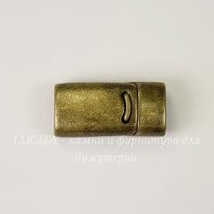 Замок для шнура 10х5 мм магнитный из 2х частей, 26х13 мм (цвет - античная бронза)