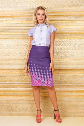 Фото лавандовая блузка с кружевной отделкой с короткими рукавами - Блуза Г640-357 (1)