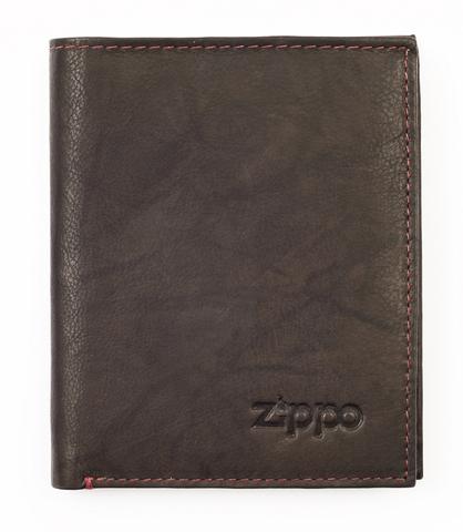 Портмоне Zippo, коричневое, натуральная кожа, 10×1,5×12,3 см