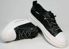 Кэжуал кеды туфли женские кожаные El Passo sy9002-2 Sport Black-White.