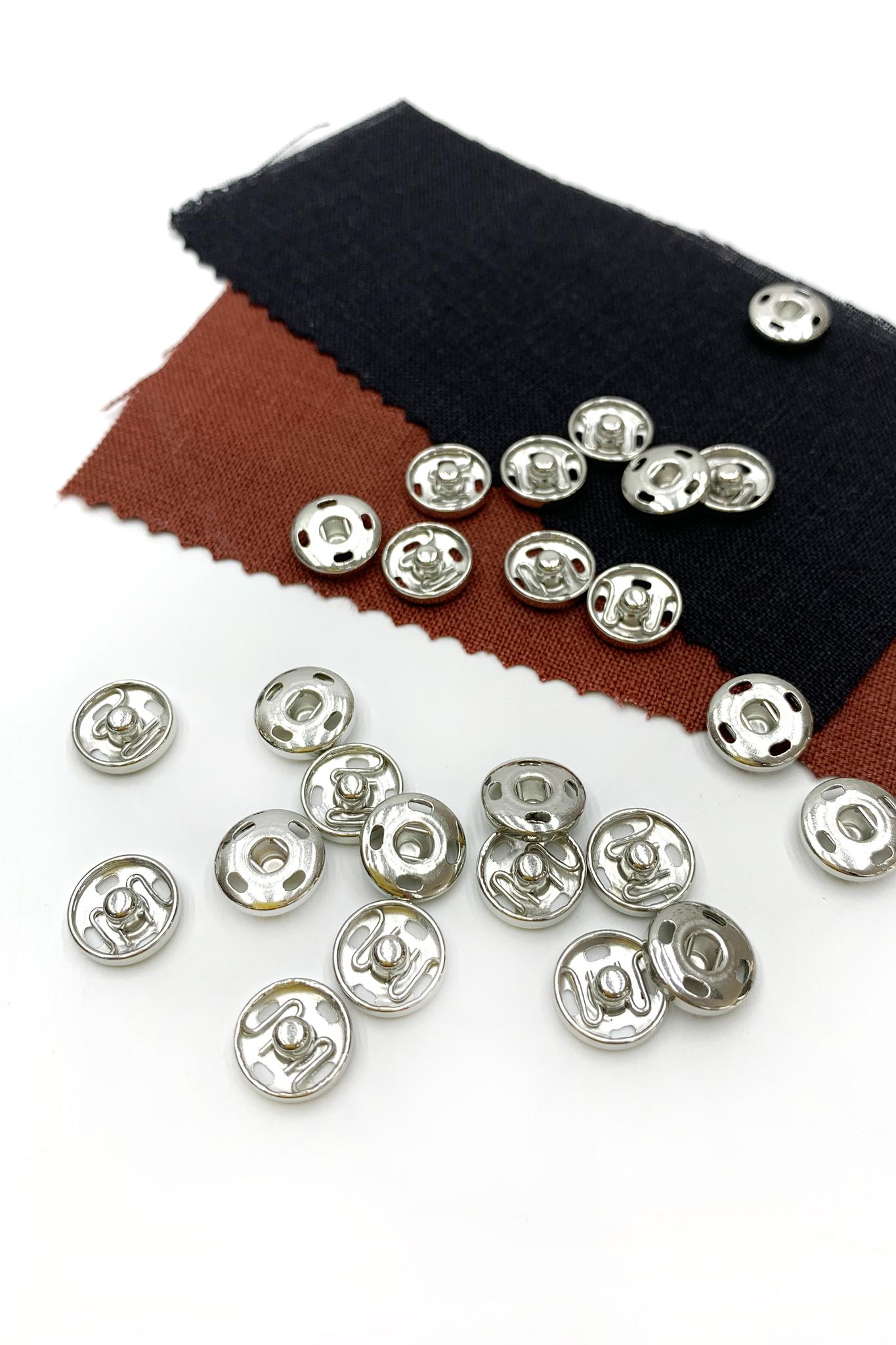 Кнопка,металл,серебро, 12 мм