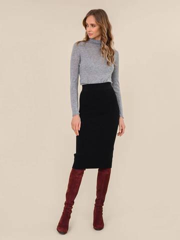 Женская юбка черного цвета из шерсти - фото 2