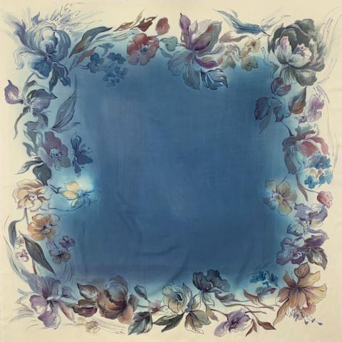 Кашемировый платок батик Вуаль синева  С-74-ш