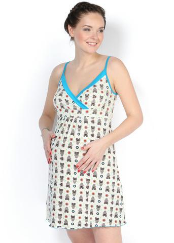 Ночная сорочка НВ02 совушки для беременных и кормящих
