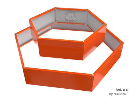 Клумба многоугольная оцинкованная 2 яруса  RAL 2004 Оранжевый