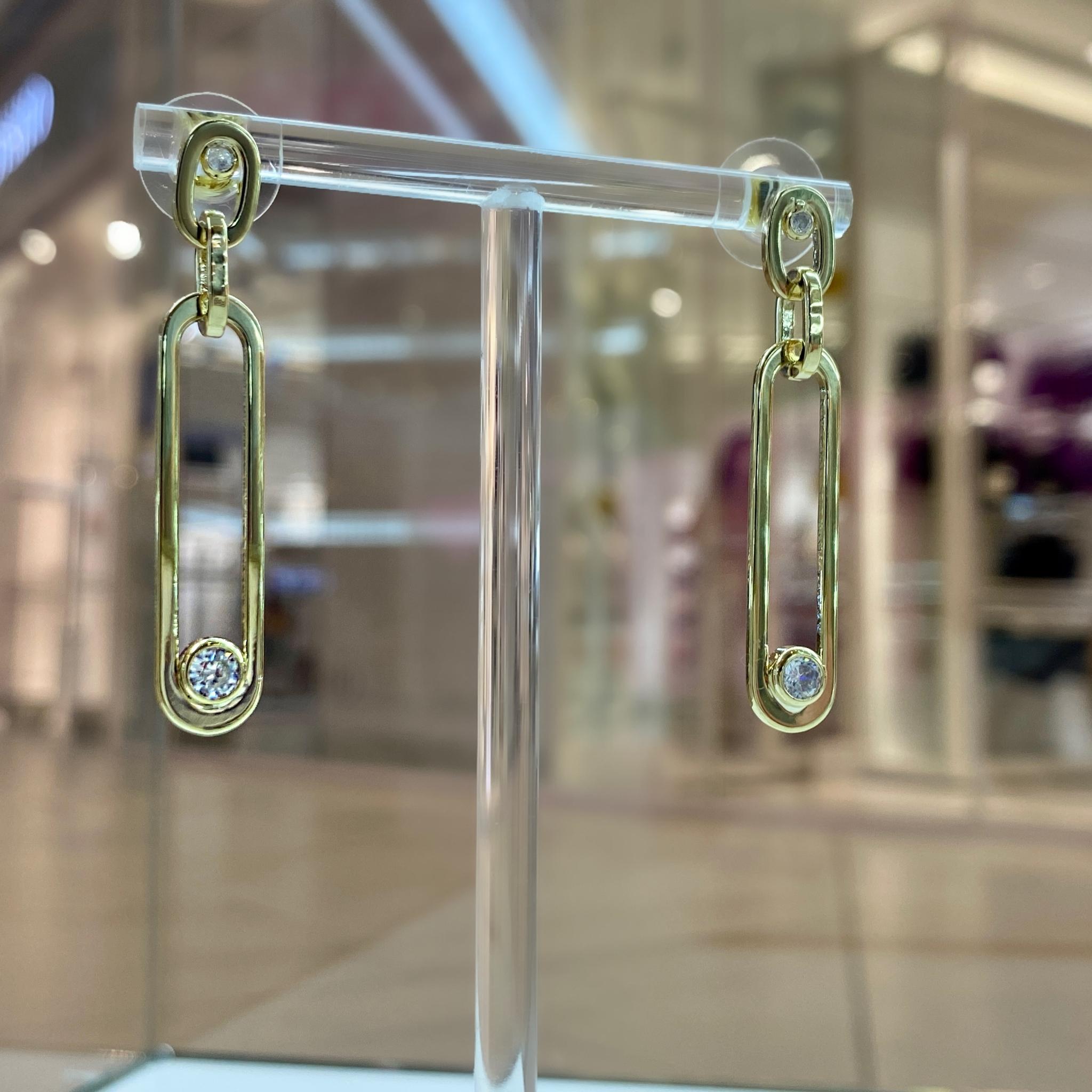 Серьги с вытянутыми подвесками и цирконами (золотистый)