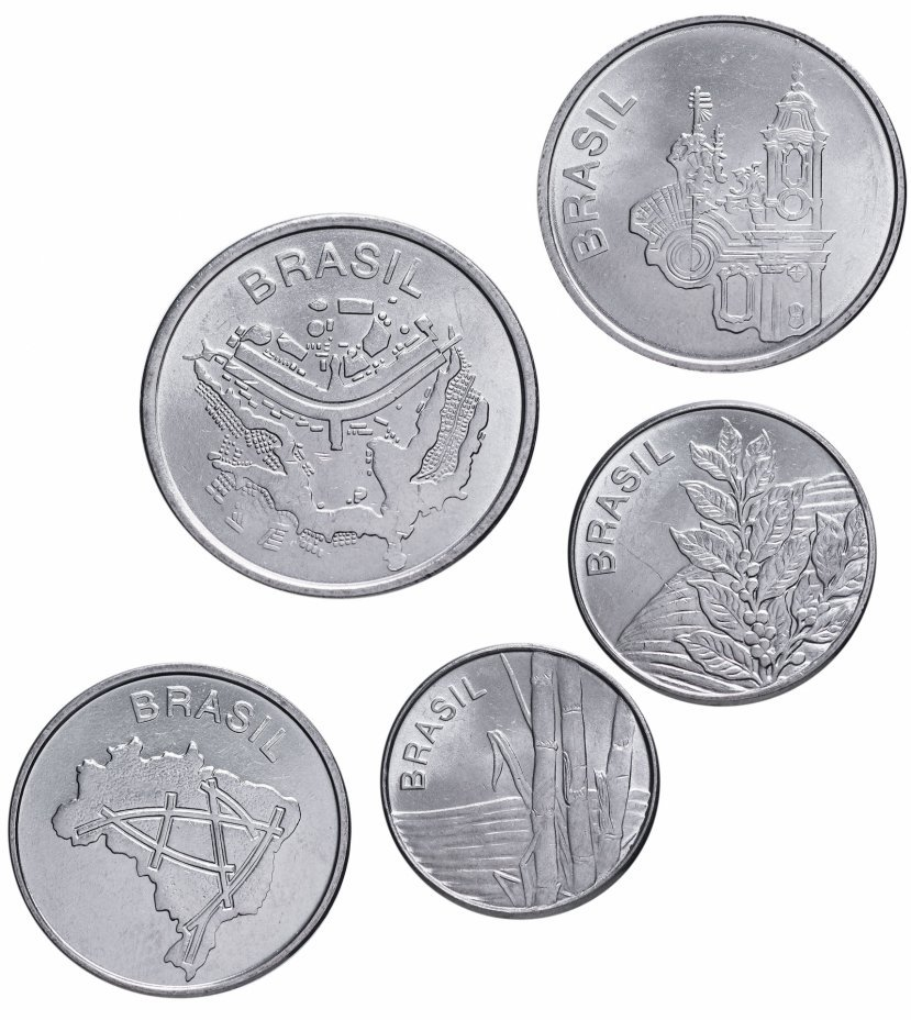 Набор из 5 монет. Бразилия. 1982-1985 гг. UNC