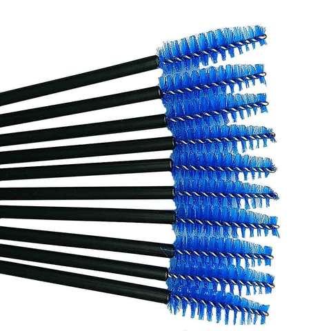 Щеточка для ресниц нейлоновая (синяя), 10шт.