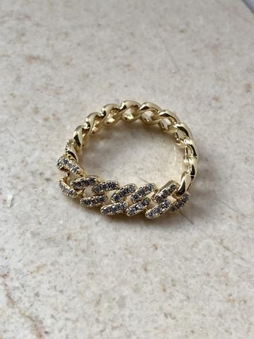 Кольцо Вивьен с цирконами, позолота