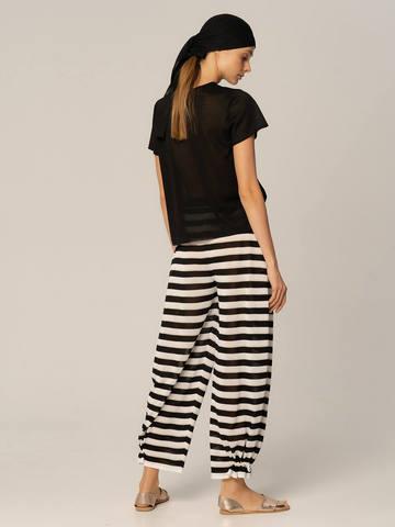Женские брюки в черно-белую полоску из вискозы - фото 4