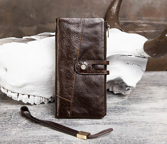 WL299-2 Мужской клатч с ремешком из натуральной кожи