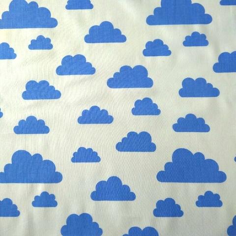 Ткань хлопковая синие облачка на белом, отрез 50*80 см