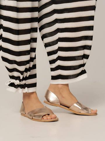 Женские брюки в черно-белую полоску из вискозы - фото 3