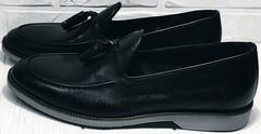 Черные мужские туфли лоферы классика Luciano Bellini 91178-E-212 Black.