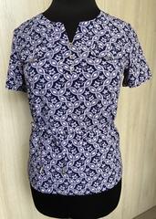 Джемма. Блуза великих розмірів з пояском, короткий рукав. Синій з рожевим