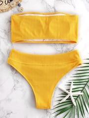 купальник бандо желтый горчичный в рубчик трусики с завышенной талией 2