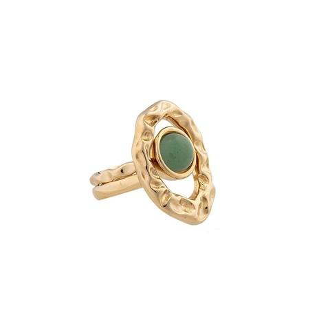 Кольцо двойное Green Quartz 16.5 мм K7158.16/16.5 G/G