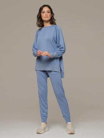 Голубой джемпер из шёлка и кашемира, с квадратной линией проймы - фото 5