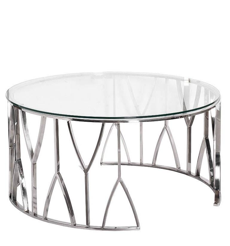 Стол журнальный 13RXCT3104-SILVER стекло прозр./серебро d90*45см