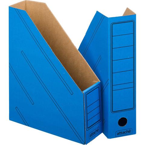 Вертикальный накопитель Attache картонный синий ширина 75 мм (2 штуки в упаковке)