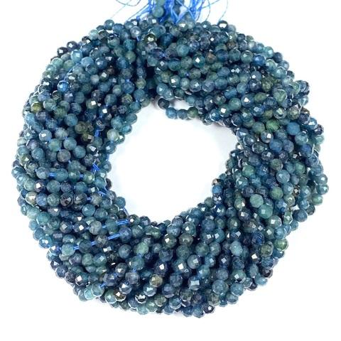 Бусины турмалин голубой A граненый 3 мм цена за 64 бусины (~19 см)
