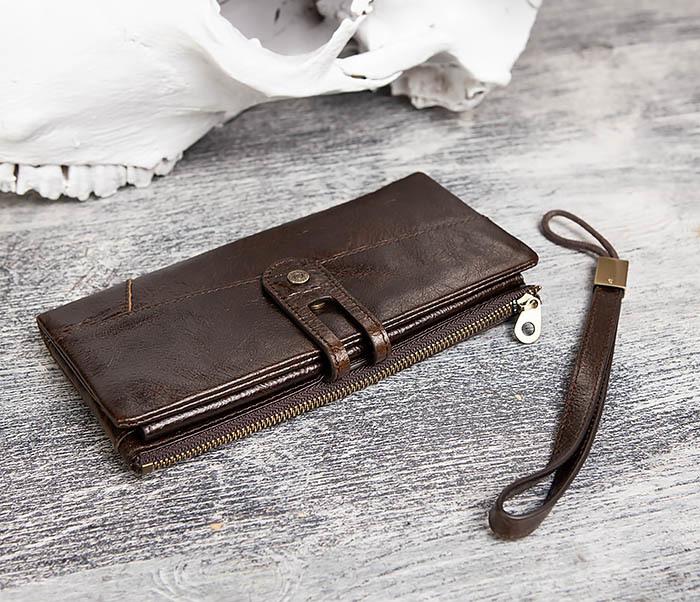 WL299-2 Мужской клатч с ремешком из натуральной кожи фото 04