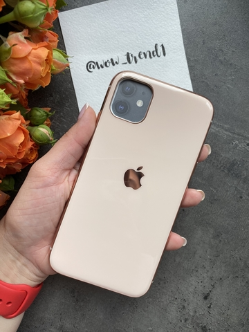 Чехол Iphone 11 Glass Silicone Case Logo /rose gold/