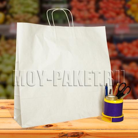 Крафт пакет белый с крученой ручкой 48х45х12 см