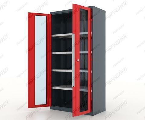 Шкаф инструментальный металлический 4 полки, двери со стеклом, серия Premium, 13.1042, Ferrum