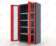 Шкаф инструментальный 4 полки, двери со стеклом, серия Premium, 13.1042, Ferrum
