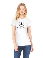 Футболка с принтом Mercedes-Benz (Мерседес-Бенц) белая w001