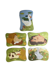 Развивающие пазлы в жестяной коробке Забавная головоломка FUN PUZZLE набор СВИНКА Домашние животные 39 элементов, 5 пазлов