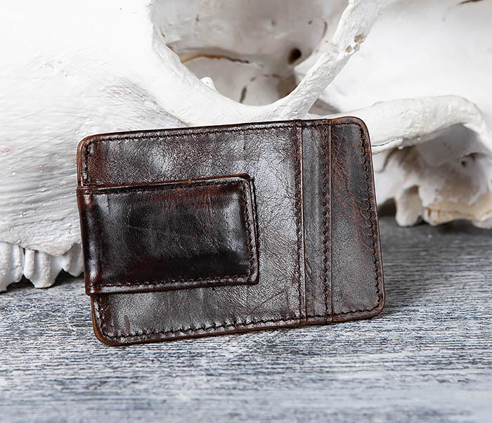 WL306-2 Кожаный зажим для денег с магнитом фото 03