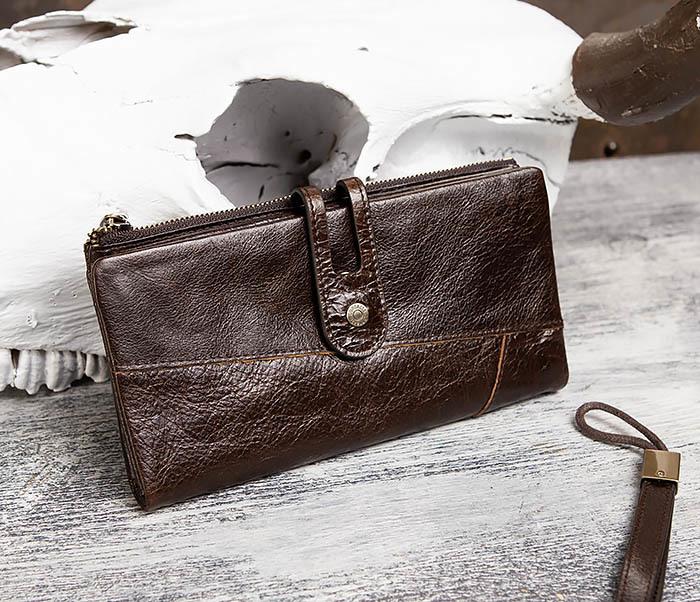WL299-2 Мужской клатч с ремешком из натуральной кожи фото 05